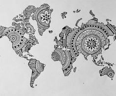 Mandalas& doodles world map