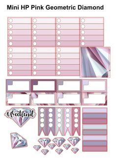 Pink Geometric Diamond - Free Planner Stickers Printable | UK Planner Addicts