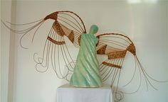 Fancy Angel Clay Angel, Fire Clay, Angels, Wings, Weaving, Fancy, Wreaths, Inspiration, Decor