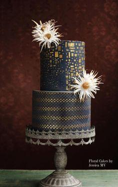 GOLD&NAVY BLUE WEDDING CAKE by Jessica MV - http://cakesdecor.com/cakes/253089-gold-navy-blue-wedding-cake