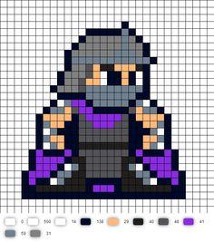 Shredder TMNT Perler Bead Pattern Perler Beads, Perler Bead Art, Fuse Beads, Melty Bead Patterns, Perler Patterns, Beading Patterns, Pixel Art Templates, Perler Bead Templates, Beaded Cross Stitch