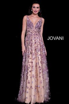 Nude Pink Floral Embroidered V Neck Prom Gown 58649