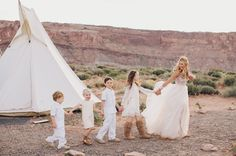 Teepees + kiddos at this desert wedding  Weddingchella Desert Wedding 'Cause We Can Events: Wedding Planning for the wanderers of the world