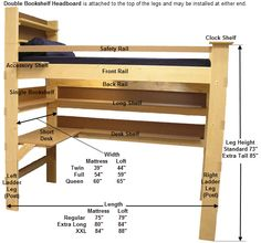 Kits and plans for   College Bed Lofts - Loft Bed Bunk Beds Platform Beds - Measurements, Weight Capacity