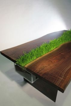 Planter Table by Emily Wettstein - Design Milk Emily Wettstein is a designer living in Brooklyn, NY who built this planter table as part of her application to grad school for architecture. Growing Grass, Growing Plants, Growing Wheat, Planter Table, Planters, Deco Nature, Garden Design, House Design, Walnut Table