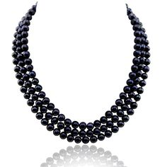 """3-row Black A Grade Freshwater Cultured Pearl Necklace (6.5-7.5mm), 16.5"""", 17""""/18"""" with base metal clasp. 3-row Black A Grade Freshwater Cultured Pearl Necklace (6.5-7.5mm), 16.5"""", 17""""/18""""3-row Black A Grade Freshwater Cultured Pearl Necklace (6.5-7.5mm), 16.5"""", 17""""/18"""". Classic style. Great for Any Occasions. See """"Special Offers & Product Promotions"""" below for our current coupon offers. Free gift promotions require that the free gift item be added to your cart plus you must apply the…"""