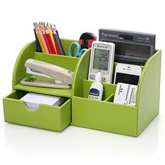 KINGOM 7 Storage Compartments Multifunctional PU Leather Office Desk OrganizerDesktop Stationery Storage Box Collection Business CardPenPencilMobile Phone Remote Control Holder Desk Supplies Organizer Green >>> Want to know more, click on the image.