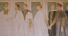 Scholars into Soldiers (1), unfinished painting, Taplow Court, showing the children of the Souls, including Julian and Billy Grenfell, sons of Lord and Lady Desborough of Taplow Court, who were killed within a few weeks of each other in 1915.  Among the others shown in the two paintings are Raymond Asquith, Edward Horner, Patrick Shaw Stuart, and Rupert Brooke. Rupert Brooke, Soldiers, Writers, Sons, Two By Two, Poetry, Paintings, War, History