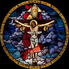 Glory be to the Father, to the Son, and to the Holy Spirit  Stained glass, St. Anne's Catholic Church, San Diego - Beyer Studio
