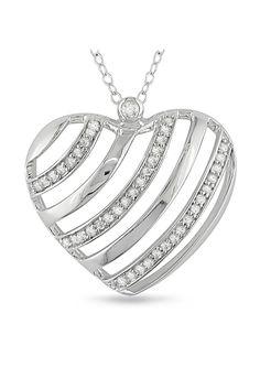 Delmar 0.25 ct Diamond & Sterling Silver Stripe Heart Pendant