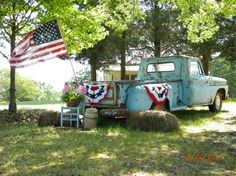 This is America. An old truck, an American flag, and country roads. Old Pickup Trucks, Farm Trucks, American Spirit, American Flag, American Pride, Happy 4 Of July, Fourth Of July, I Love America, Old Glory