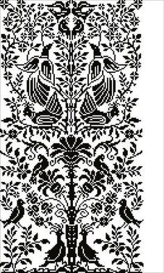 Cross Stitch Bird, Cross Stitch Borders, Cross Stitch Designs, Cross Stitching, Cross Stitch Patterns, Folk Embroidery, Cross Stitch Embroidery, Palestinian Embroidery, Denim Crafts