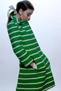 Lisa Palmer in a green and white striped Shetland wool coat by Originala, photo by Frank Horvat, 1967