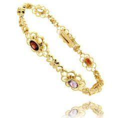 18kt Over Sterling Silver Genuine Multi Color Gemstones Flower Bracelet LEAH HANNA. $29.99. Save 50%!