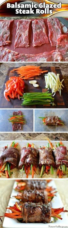 of July Recipes Ever! Balsamic Glazed Steak Rolls///I would sub out the carrots.Balsamic Glazed Steak Rolls///I would sub out the carrots. Meat Recipes, Dinner Recipes, Cooking Recipes, Healthy Recipes, Recipies, Cooking Tips, Smoker Recipes, Kitchen Recipes, Atkins Recipes