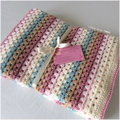 This beautiful granny stripe blanket is still available, it would be an ideal gift for a new baby and perfect as a baby shower gift. Do you know someone who's having a baby girl? Granny Stripe Crochet, Granny Stripe Blanket, Baby Girl Crochet Blanket, Baby Girl Blankets, Crochet Baby, Crochet Blankets, Burp Cloth Patterns, Rag Quilt Patterns, Afghan Crochet Patterns