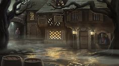 Misty Town by Vihola. The hero's arrival in Mordavia in Quest for Glory IV: Shadows of Darkness.