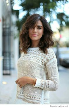 Nice white sweater and hair