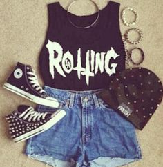 Casual punk outfit.