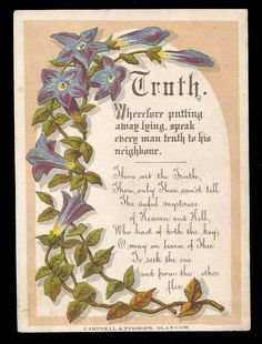H92 - VICTORIAN RELIGIOUS CARD - TRUTH - CAMPBELL & TUDHOPE, GLASGOW