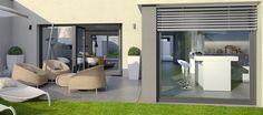 DIE LICHTUNG – der Gartenhof mit sichtgeschützter Logenterrasse und Kochbereich, Variante Avantgarde.