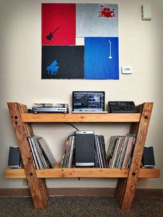 Record & Stereo Shelves: 5 Steps (with Pictures) Record Shelf, Vinyl Record Storage, Lp Storage, Record Rack, Vinyl Record Cabinet, Record Stand, Vinyl Records, Cardboard Furniture, Diy Furniture