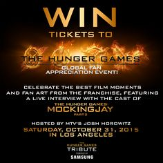 Los Angeles! Dressing up as a Hunger Games character for Halloween? Tweet #THGFanTix to WIN tickets to attend the Global Fan Appreciation Event this Saturday, 10/31, featuring a LIVE interview with Jennifer Lawrence, Josh Hutcherson, and Liam Hemsworth! https://twitter.com/TheHungerGames/status/659551637233528832
