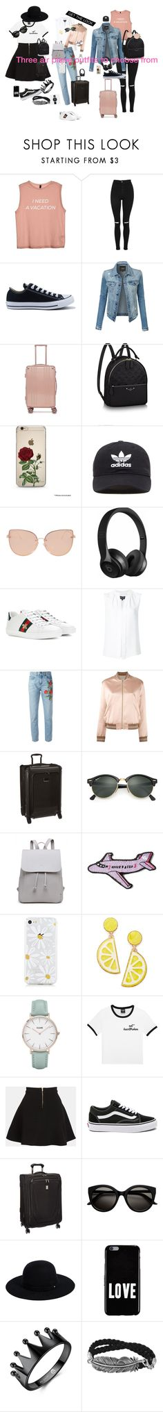"""Air plane"" by maeve-lamson on Polyvore featuring Topshop, Converse, LE3NO, CalPak, adidas Originals, Beats by Dr. Dre, Gucci, Derek Lam, Yves Saint Laurent and Tumi"