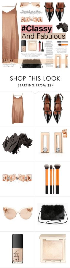 """Dafina Jewelry #Classy and Fabulous"" by tasnime-ben ❤ liked on Polyvore featuring River Island, RED Valentino, Bobbi Brown Cosmetics, Max Factor, Linda Farrow, Vanity Fair, Torrid, NARS Cosmetics, Kershaw and Jouer"