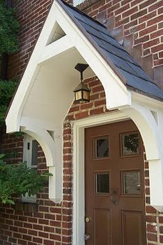 Canopy, Wooden Porch Awning, Front Door Canopies - love this awning, just put in a new front door that would be awesome with this. Description from . I searched for this on /images Porch Roof, Small Front Porches, Front Door Canopy, House With Porch, Door Awnings, Front Door Porch, Building A Porch, Porch Canopy, Portico