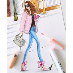 Pink fashion illustration inspired by street fashion blogger, by Rongrong DeVoe