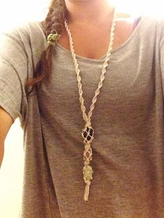 Hemp necklace with amazonite, amethyst, and sodalite stones