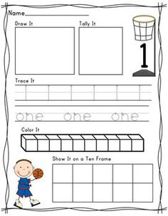Writing and composing numbers 1-10.  Fun basketball themed pages.