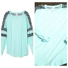 Vs pink varsity mint zebra pullover sz M Brand new with tags no trades Victoria's Secret Tops