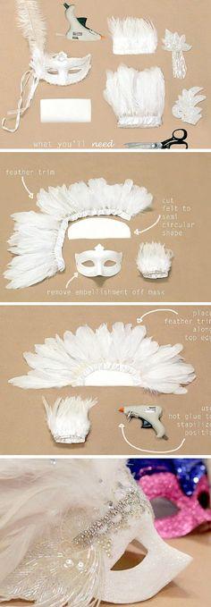 DIY como transformar aquela máscara simples em uma peça maravilhosa para usar no carnaval, baile de máscaras ou festa à fantasia.