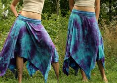 Long bamboo pixie skirt asymmetric woodland fairy tie dye psy wear maternity S, M, L. $75.00, via Etsy.