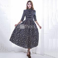 Women's Vintage/Print/Party/Maxi/Plus Sizes Wooden Buckle Inelastic ¾ Sleeve Pleated Midi Dress (Cotton/Linen) - USD $22.99