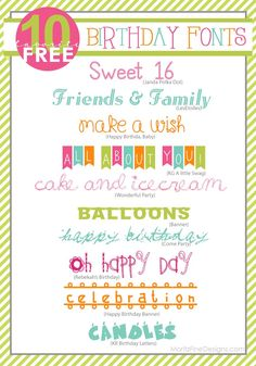 Awesome FREE Birthday Fonts!  Easy to download and a good banner font | www.MoritzFineBlogDesigns.com