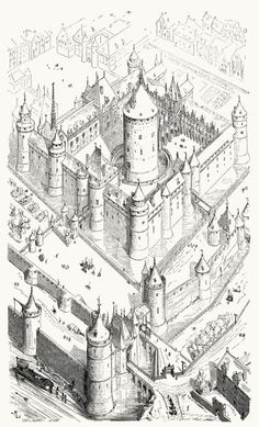 The Louvre, at the time of Charles V (Second half of the XIV century). From Dictionnaire raisonné de Romanesque Architecture, Cultural Architecture, Sacred Architecture, Classic Architecture, Architecture Sketches, Castle Drawing, Drawing Drawing, Paris At Night, Old Paris