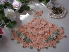 For inspiration. Love the colors. Crinoline Lady, Peach and Natural, Crochet Doily, Doilies, with Glass Beads
