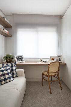 Stefani Arquitetura의  서재/사무실 Small Room Interior, Apartment Interior, Interior Exterior, Interior Architecture, Style At Home, Minimalist Room, Space Interiors, Interior Decorating, Interior Design
