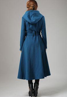 Blue wool swing coat womens long coat with warm hood by xiaolizi