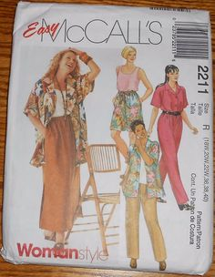 McCall's Sewing Pattern 2211 skirt,top & pants plus sizes 18W 20W 22W 36 38 40 #McCalls