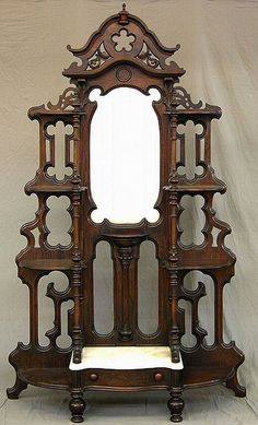 ~Rosewood Grained Walnut Victorian Etagere, Mitchell & Rammalesburg Co. OH, circa 1860-1870~