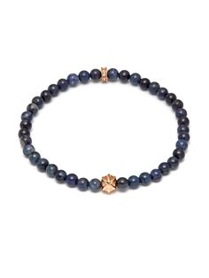Micro Dumortierite Bracelet with Unity Bead-Rose Gold