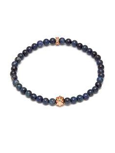 Micro Dumortierite Bracelet with Unity Bead-Rose Gold