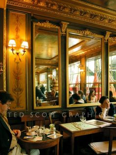 Photograph of Laduree Cafe Interior, Paris, France. The history of tea began here by the Laduree family. Not to mention macarons! Cafe Interior, Interior And Exterior, Interior Design, Paris France, Rue Rivoli, Laduree Paris, Chateau Versailles, Parisian Cafe, Beautiful Paris