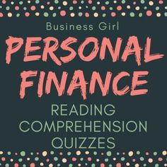This product contains 5 quizzes (1 quiz for each article), 5 answer keys, and a brief teacher guide that can be see in the Preview. Each quiz contains 5 questions that follow the ACT-style format. Course concepts covered include: taxes, student loans, car insurance, bankruptcy, and financial services (banking). These Personal Finance quizzes are a great way to incorporate course concepts with text-based, reading comprehension skills.