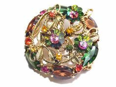 Vintage Watermelon Margarita Rhinestone Brooch Marquis Open Back Gold Tone 60s