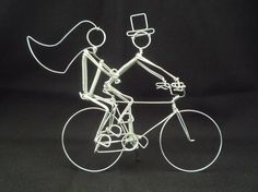 PERSONALIZED Double Riders Bike Wedding Cake Topper by heatherboyd, $60.00